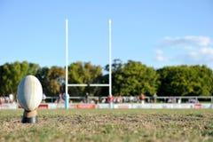 Rugbyboll på ett sportsligt fält Arkivfoto