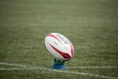 Rugbyboll vid mitren royaltyfria bilder