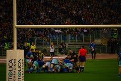 RugbyCattolica match Italien - allt svart arkivbild