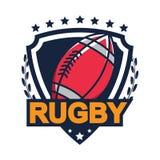 Rugbyembleem, Amerikaans Logo Sport Stock Fotografie