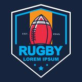 Rugbyembleem, Amerikaans Logo Sport Royalty-vrije Stock Afbeelding
