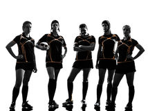 Rugbyfrauenspieler-Teamschattenbild Stockbild