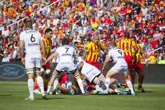 Rugbygelijke USAP versus Toulon Stock Afbeeldingen