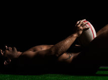 Rugbyman nudo sexy Immagine Stock