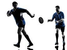 Rugbymann-Spielerschattenbild Stockfotografie