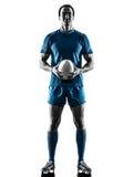 Rugbymann-Spielerschattenbild lokalisiert Stockbild