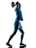 Rugbymann-Spielerschattenbild lokalisiert Lizenzfreies Stockbild