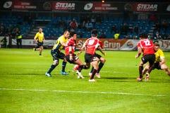 Rugbymatch i Rumänien Fotografering för Bildbyråer