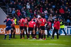 Rugbymatch i Rumänien Arkivfoto