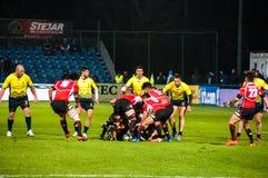 Rugbymatch i Rumänien Arkivbild