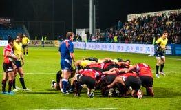 Rugbymatch i Rumänien Royaltyfria Foton
