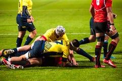 Rugbymatch i Rumänien Royaltyfria Bilder