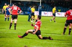 Rugbymatch in Rumänien Stockfoto