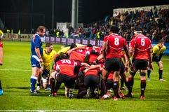 Rugbymatch in Rumänien Stockfotos