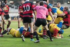 Rugbyspelare i uppgift Fotografering för Bildbyråer