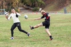Rugbyspelare i uppgift Royaltyfria Bilder