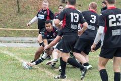 Rugbyspelare i uppgift Royaltyfria Foton