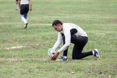 Rugbyspelare i uppgift Arkivbild