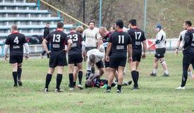 Rugbyspelare i uppgift Arkivbilder