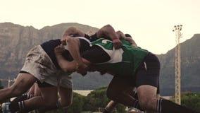 Rugbyspelare som skjuter i en klunga stock video