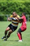 Rugbyspelare som slåss för bollen Royaltyfria Foton