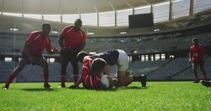 Rugbyspelare som spelar rugbymatchen i stadion 4k lager videofilmer