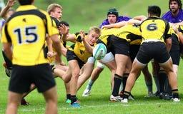 Rugbyspelaren passerar bollen till hans lagkompis Arkivfoton