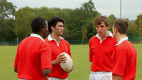 Rugbyspelers die samen babbelen stock video