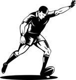 Rugbyspieler, der die Kugel tritt vektor abbildung