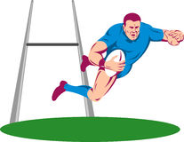 Rugbyspieler, der einen Versuch zählt Stockbild