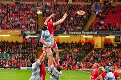 Rugbyspieler, der innen Throw tut stockbilder