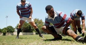 Rugbyspieler, die Übung auf dem Feld 4K 4k ausdehnend tun stock video footage