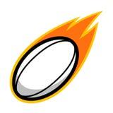 Rugbysportfußballlederkometenfeuerendstück-Fliegenlogo Stockbild