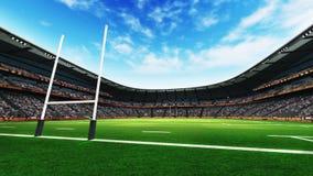 Rugbystadion med grönt gräs på dagsljus Fotografering för Bildbyråer