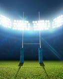 Rugbystadion och stolpar Arkivfoto
