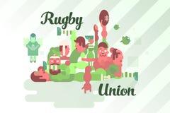 Rugbyverbandsspieler in einem Gedränge stock abbildung