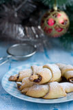 Rugelach with Raspberry jam, Christmas decorations Stock Photo