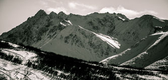 Rugged Alaska Mountain Peaks Black and white Perfection Stock Photography