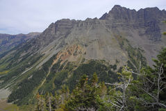 Rugged alpine landscape of the Maroon Bells and the Elk Range, Colorado, Rocky Mountains Stock Photo