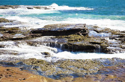 Rugged ancient rock formation sea ocean crevice in Australia Kalbarri Royalty Free Stock Images