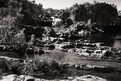 Rugged Australian Landscape in black and white -Edith Falls, Australia. Rugged Australian Landscape in black and white at the upper waterfall and pools of Edith Stock Photo