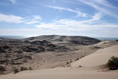 The desert hills around el Golfo de santa clara, Sonora, Mexico. Rugged, barren terrain which is ideal for explorers, ATV riding, and hiking in search of agates royalty free stock photos
