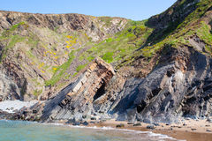 Rugged beach. At Hartland Quay Devon England UK royalty free stock photography