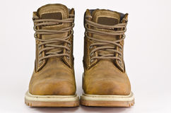 Rugged boot. A brown rugged waterproof boot stock images