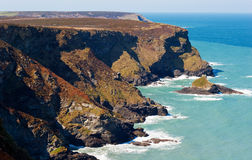 North Cornwall Coast. The rugged cliffs on the north coast of Cornwall just outside the village of Gwithian and the town of Hayle Royalty Free Stock Image