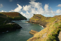 Rugged coast boscastle cornwal royalty free stock photography