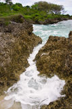 Rugged coast line, Tonga. The rugged coastline of Tonga where the water rushes in and out of a channel and can pose a danger to unwary tourists stock photos