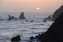 Rugged coast of Northern California. Rugged Pacific coastal scene, sunset off California Stock Photography