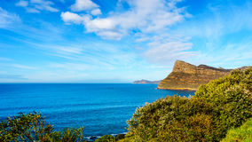 The rugged coast and wind swept peaks near Cape Point. On the Cape Peninsula in South Africa under blue sky Royalty Free Stock Photo