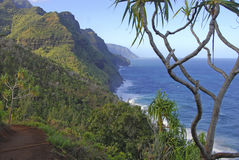 Rugged Coastline and Cliffs along the Kalalau Trail of Kauai, Hawaii Stock Image